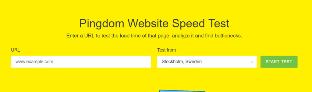 Screenshot of pingdom's site speed test