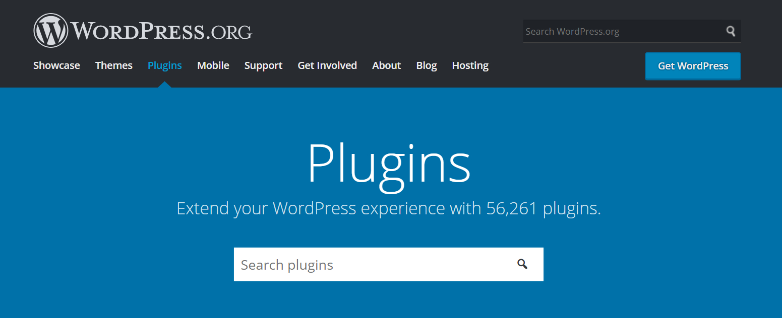 "Screenshot of the WordPress.org plugins page showing a header that says ""Plugins"" and a search box for searching for plugins"