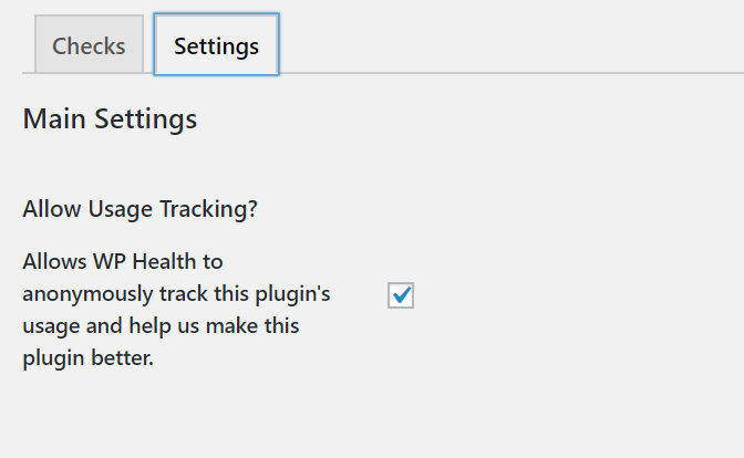 "Screenshot of ""Settings"" tab in WP Health that shows an option to disable or enable tracking."