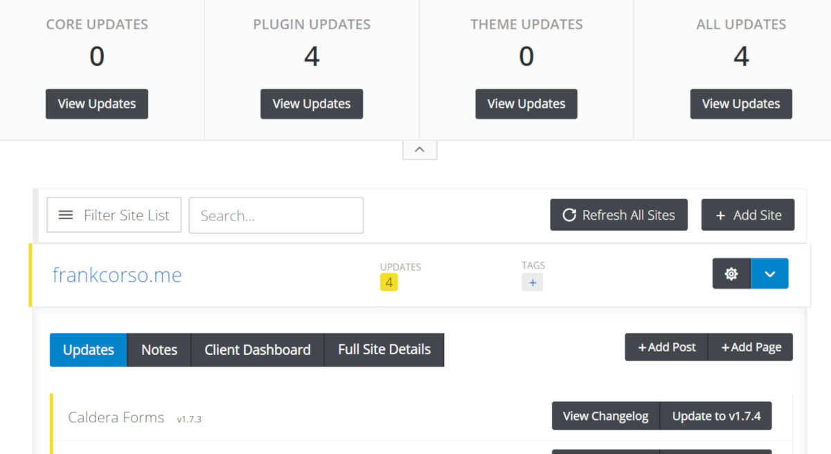 Screenshot of the dashboard in iThemes Sync showing one site that is enabled which has 4 updates listed.