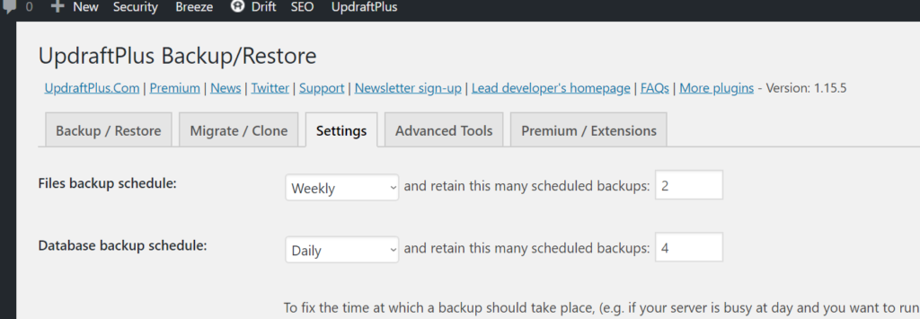 Screenshot of Updraft Plus settings with files backup schedule and database backup schedule.