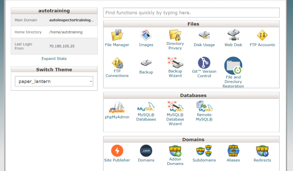 Screenshot of the cPanel interface showing multiple rows of icons including phpMyAdmin