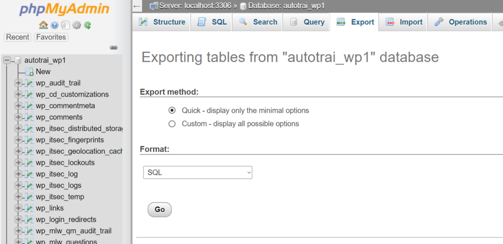 Screenshot of phpMyAdmin interface showing the export tab with export method set to quick and format set to SQL.