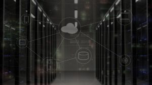 Room of servers with icons layered on top including icons for phone, tablet, and cloud.
