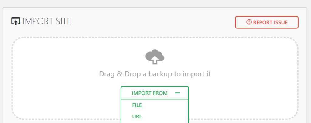 "Screenshot of the ""Import"" page with a heading of ""Import Site"" and a button that says ""Import From""."