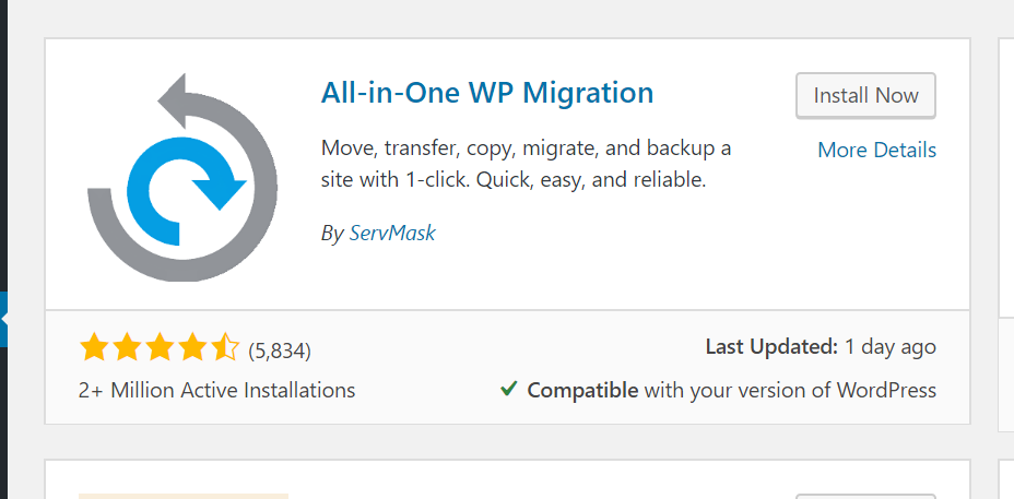 "Screenshot showing the ""All-in-One WP Migration"" plugin listed on the ""Add New"" page showing 2 million active installations."
