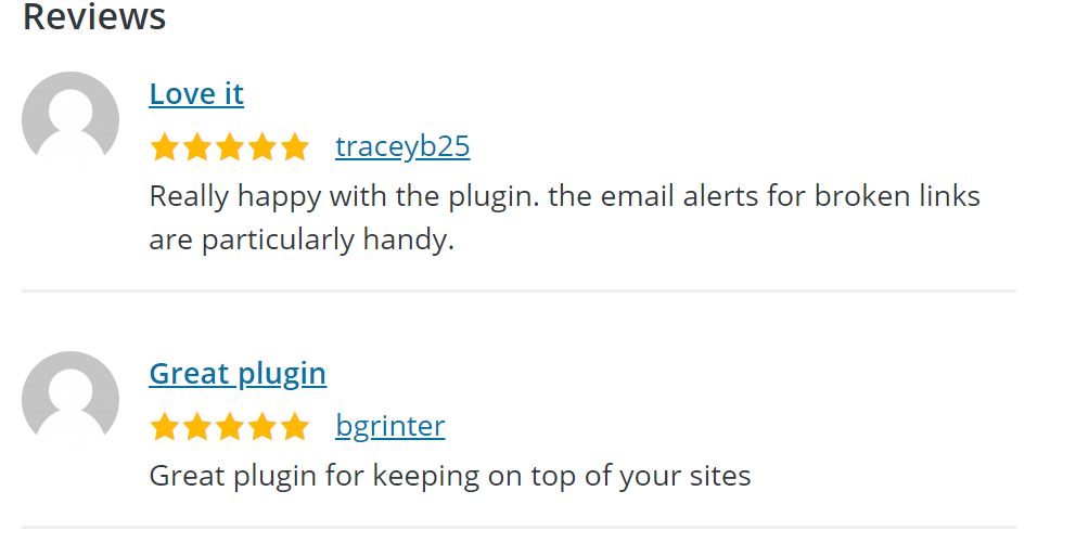 "Screenshot of two 5-star reviews. One says ""Love it"" and the other says ""Great plugin""."