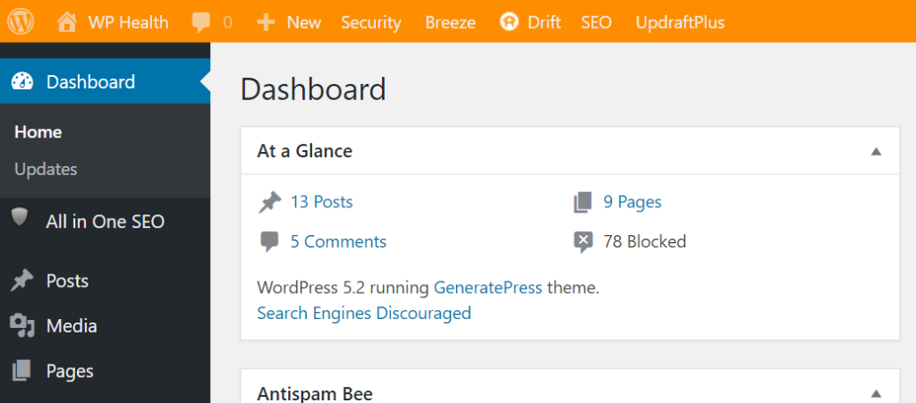 Screenshot of WordPress dashboard when logged into the staging site with the admin bar being orange.