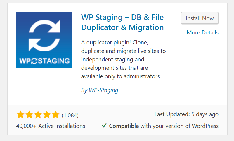 "Screenshot of the WP Staging plugin listed in the ""Add New"" page showing 40,000 active installs and last updated 5 days ago."