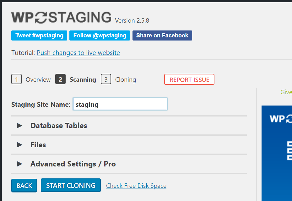 "Screenshot of WP Staging page that has a text box with the label ""Staging Site Name"" and a button that says ""Start Cloning""."
