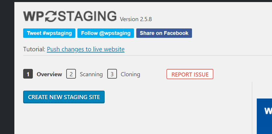 "Screenshot of WP Staging start page showing a button that says ""Create New Staging Site""."
