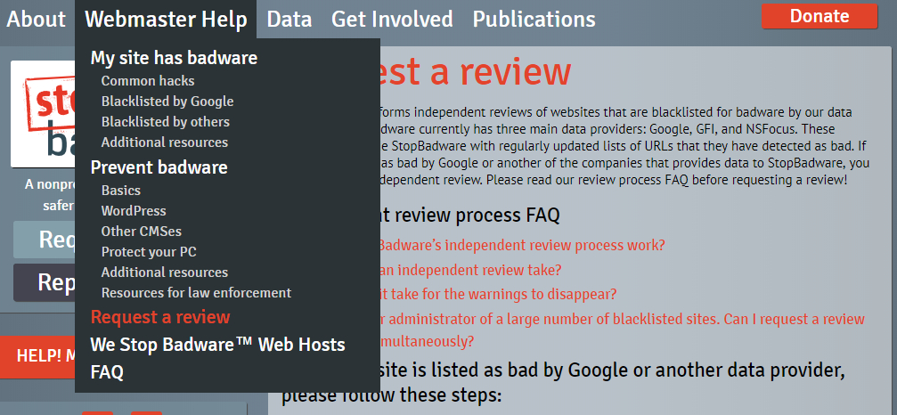 "Screenshot of StopBadware's site with the ""Request a review"" link in the navigation selected."