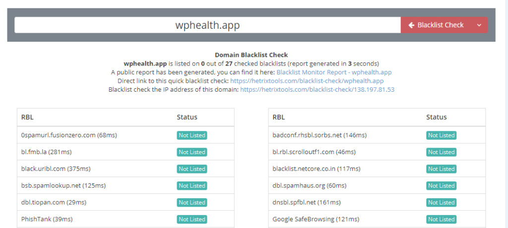 "Screenshot of scanning blacklists for wphealth.app. The tool showed ""not listed"" next to many lists."